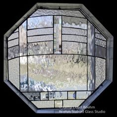thermal leaded glass window in a powder room   Boehm Stained Glass Blog: Octagonal Clear Powder Room Window ...