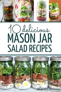 Delicious Mason Jar Salad Recipes for Easy Meal Prep - 10 Healthy amp; Delicious Mason Jar Salad Recipes For Easy Meal Healthy amp; Delicious Mason Jar Salad Recipes For Easy Meal Prep Mason Jar Lunch, Mason Jars, Mason Jar Meals, Meals In A Jar, Mason Jar Recipes, Lunch Meal Prep, Easy Meal Prep, Healthy Meal Prep, Easy Meals