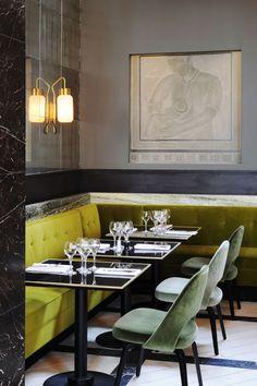 David Collins restaurant interior--monsieur bleu at the palais de tokyo in paris, chartreuse banquette, antique mirror, chairs
