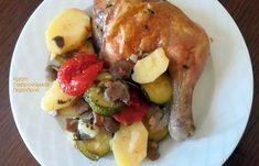 Κοτόπουλο ψητό με λαχανικά σε λαδόκολλα ή σε σακούλα ψησίματος - cretangastronomy.gr Meat, Chicken, Breakfast, Food, Morning Coffee, Essen, Meals, Yemek, Eten