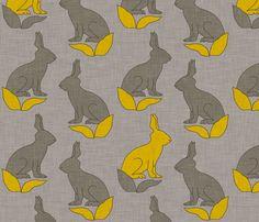 rabbit_linen fabric by holli_zollinger on Spoonflower - custom fabric