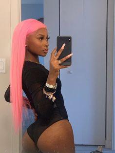 """I'm a hot girl so I make these niggas sweat🥵"" Black Girl Pink Hair, Black Hair, Black Girls Hairstyles, Wig Hairstyles, Bae, Dyed Blonde Hair, Ebony Girls, Hair Laid, Doja Cat"