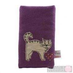 Phone Case in Purple with Cat Design by Poppy Treffry