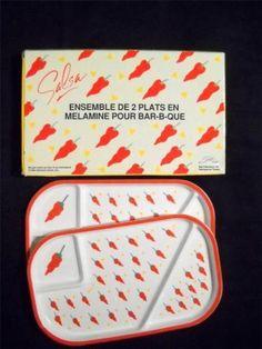 Hot-Peppers-Melamine-Platter-Set-Salsa-Barbecue-Vintage-1989