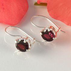 Garnet Earrings in Sterling Silver via Etsy