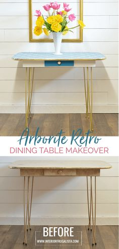 How To Paint Arborite Retro Dining Tables - A retro dining table makeover before and after with chalk mineral paint and tips on how to get a la - Chalk Paint Furniture, Diy Furniture Projects, Furniture Makeover, Diy Projects, Retro Dining Table, Vintage Table, Dining Tables, Dining Table Makeover, Makeover Before And After