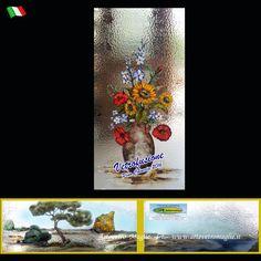 Vetrofusioni vaso con fiori e torre di avvistamento Salentina