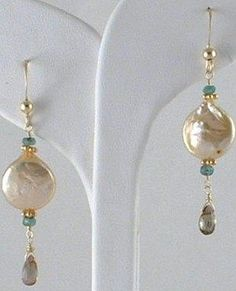 Lovely idea for making earrings with pearls and gemstones