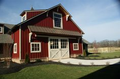 We love timber frame barns. This was built by Mid-Atlantic Timberframes of Paradise PA. Check them out on fb Bank Barn, Barn Garage, Garage Studio, Garage Plans, Barn Renovation, Barn Living, Country Barns, Pole Barn Homes, Dream Barn