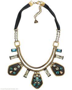 Blue Streak Necklace!  Brass-base metal with genuine horn/leather, Swarovski crystals, stones to create contemporary contrast.  www.mysilpada.com/sylvia.justus