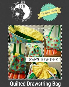 Cut Craft Mom latest sewing pattern. Drawn together quilted drawstring bag on sale now at cutcraftmom.com
