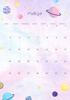 calendario de marzo: imprimible y fondo | MLCblog Planner Writing, Planner Pages, Planner Stickers, 2020 Calendar Template, Planner Template, Schedule Templates, Calendar 2020, Bullet Journal School, Bullet Journal Ideas Pages