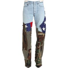 Ronald Van Der Kemp Women Printed Flag & Army Flared Jeans (€1.520) ❤ liked on Polyvore featuring jeans, multicolor, patchwork jeans, army jeans, flared jeans, flare jeans and multi colored jeans