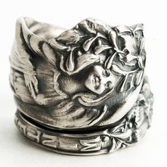 Goddess Ring, Winter Ring, Sterling Silver Spoon Ring, Holly, Christmas Mistletoe, Handmade Ring, Upcycled Jewelry, Adjustable Ring (3012)