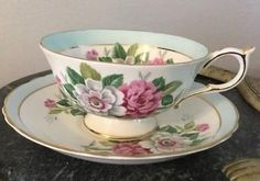 VINTAGE~~PARAGON Bone China Cup/Saucer By Appointment Magenta/White Roses MINT