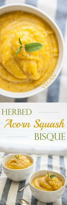 Produce On Parade - Herbed Acorn Squash Bisque - A perfectly creamy, fall soup that's incredibly delicious. It's quite easy to prepare and mostly hands-off.