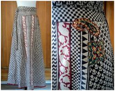 Vintage 70s Hippie Wrap Skirt Patches Block by caligodessvintage