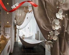 """Купить Штора для ванной с подхватом """"Морская фантазия"""",Ручная работа! - коричневый, каппучино, ванная комната"""