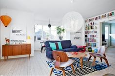 Scandinavian living room | white with pops of color