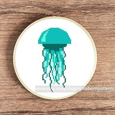 Tittle: Jellyfish Nautical collection. Item include only one pattern (image 1)  This PDF counted cross stitch pattern available for instant