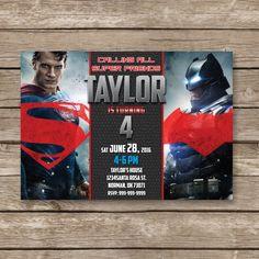 Batman vs Superman Invitation, Batman vs Superman Birthday Party, SuperHero…