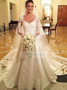 Charming Scoop Long Sleeve With Lace Appliques Wedding Dress Itemwd0196