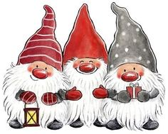 - Three happy and bearded gnomes. -- All images (C) Copyright Åsa Gustafsson Christmas Rock, Christmas Gnome, Winter Christmas, All Things Christmas, Vintage Christmas, Christmas Crafts, Christmas Decorations, Christmas Ornaments, Merry Christmas