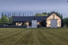 On a large lifestyle block just outside the city, O'Neil Architecture has reinterpreted the familiar rural house form into a modern barn-style home. Wood House Design, 2 Storey House Design, Village House Design, Duplex House Design, Simple House Design, Rustic Home Design, Minimalist House Design, Modern House Design, Tyni House