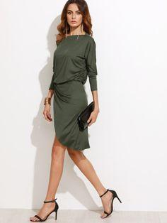 Army Green Women Party Dresses Long Sleeve Ladies Sexy Club Dress Off  Shoulder Asymmetric Overlap Dress fc6a73099cc5