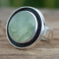 Prehnite and Sterling Silver Ring Taxco Jewelry Art - Verdant Glow | NOVICA