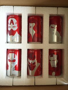 Marvel Avengers Mini Coca Cola Cans Complete Set 6 pack Coke First Edition #CocaCola