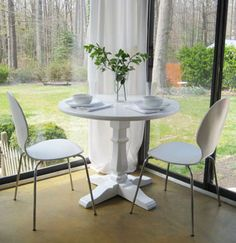 Furniture Painting Tips From Top DIY Bloggers and Painting Experts: Paint a dining table in crisp white.