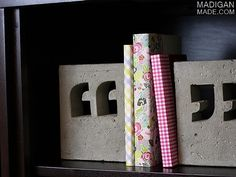super Idee  - great idea - DIY concrete bookends and paper covered books