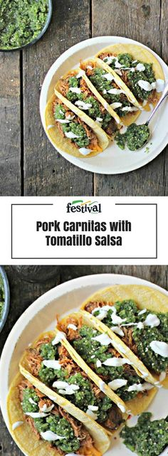 In these Pork Carnitas with Tomatillo Salsa, chili seasoned pork shoulder is slow cooked in garlic, onion and fresh orange juice, pulled and placed on a crispy corn tortilla, then topped with fresh tomatillo salsa and a dollop of creamy Greek yogurt.