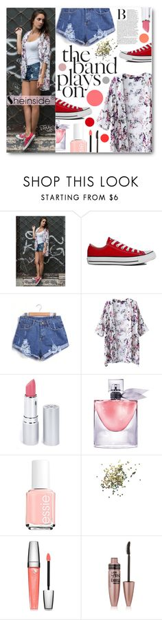 """""""Floral Kimono"""" by tasnime-ben ❤ liked on Polyvore featuring Converse, HoneyBee Gardens, Lancôme, Essie, Topshop, Maybelline and Sheinside"""