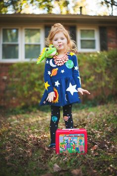 Olive's Mrs. Frizzle Costume that mommy made! Add Liz the lizard, space tigh... ,  #costume #frizzle #lizard #mommy #olive #space