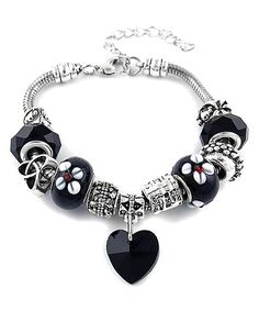 Another great find on #zulily! Black Crystal & Silvertone Heart Charm Bracelet #zulilyfinds