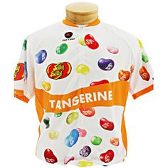 Tangerine cycling jersey from Jelly Belly! Made by Pactimo and is sweat/moisture wicking! Club cut and short sleeve. Other