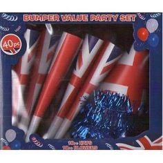 Union Jack 40 Pc Bumper Pack Party Set - Hats Blowers Horns Streamers