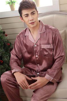 Spring Autumn Purple Pink Silk Lovers Pajamas Set 8b7ebe678