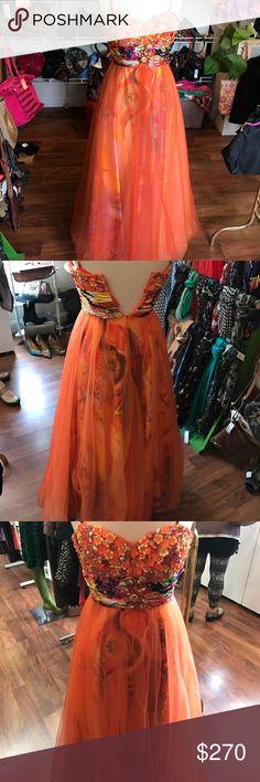 Mori lee orange prom dress Size 5/6 orange mori lee prom dress Mori Lee Dresses Prom