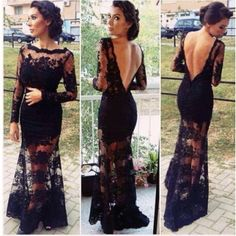 Cheap Sexy Bateau Neck Long Sleeves Backless Black Lace Ankle Length Dress