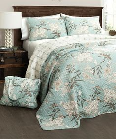 Look at this Blue Botanical Garden Four-Piece Quilt Set on #zulily today!