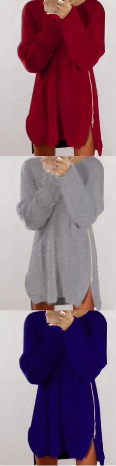 Women's Casual/Daily Regular Solid Round Neck Long Sleeves Polyester Fall Pullover