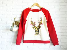 Christmas Sweater for Women Reindeer Sweater by ClothesWithSoul
