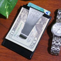 Personalized Engraved Leather Money Clip - Gifts Happen Here