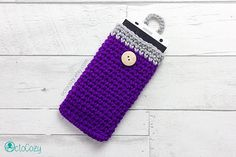 Mobile Phone Case iPhone Cover Handmade Crochet Aubergine