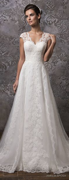 Amelia Sposa Wedding Dress Collection Fall 2018 Hochzeitskleid 2019 Hochzeitskleid 2019 This wedding gown is so beautiful and elegant, the sweetheart neckline and the lace one the shoulders looks fantastic. Amelia Sposa Wedding Dress, Pretty Wedding Dresses, Elegant Wedding Dress, Perfect Wedding Dress, Bridal Dresses, Wedding Gowns, Bridesmaid Dresses, Wedding Ceremony, Wedding Dress 2018