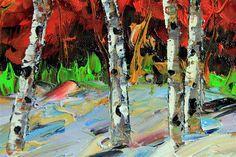Buy Original Art by Lisa Elley | oil painting | Fiery Birch at UGallery