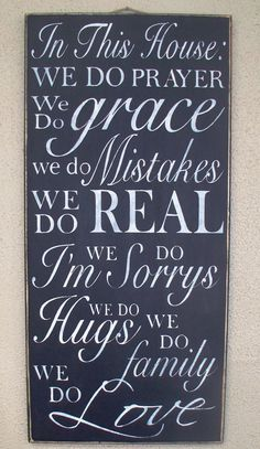 In This House: We do PRAYER, ... We Do family, We Do LOVE - Family Rules- House Rules - Subway Art - Large Handpainted sign, $34.00